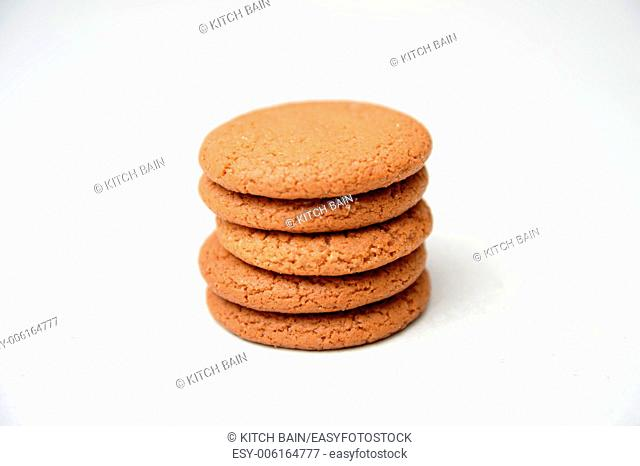 Ginger biscuits isolated against a white background