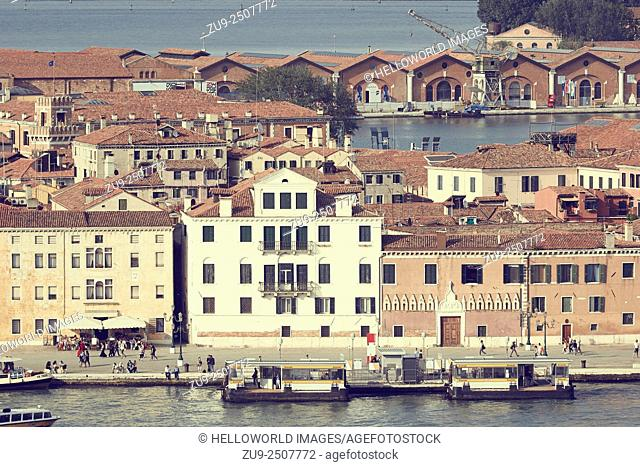 Arsenale vapretto stop in the Venice district of Castello, It is a complex of former shipyards and armories where most of Venice's maritime trading vessels and...