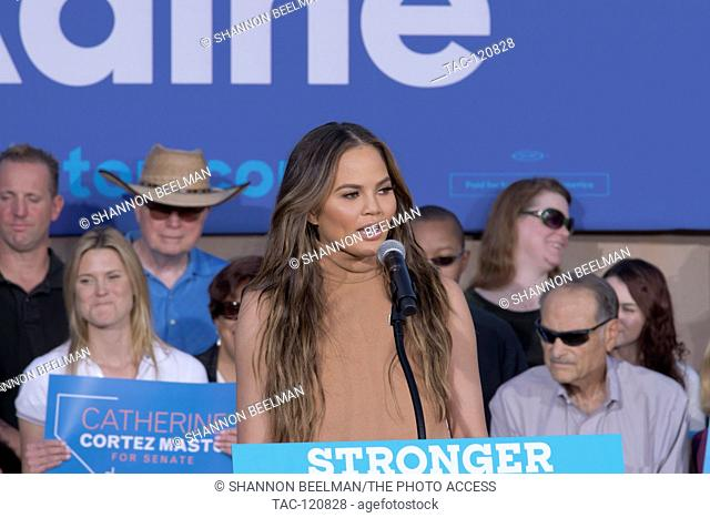 Chrissy Teigen speaks at the Stronger Together Ralley on October 4th, 2016 at the Springs Preserve in Las Vegas, NV