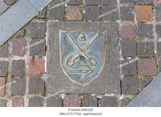 Tailor's guild, coat of arms symbol, Bistrita, Bistrita, Beszterce, Transylvania, Romania, Europe