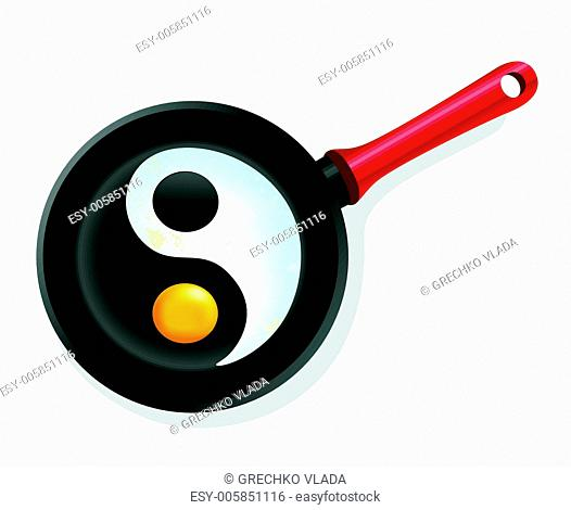 fried egg in a frying pan with symbol ying-yang