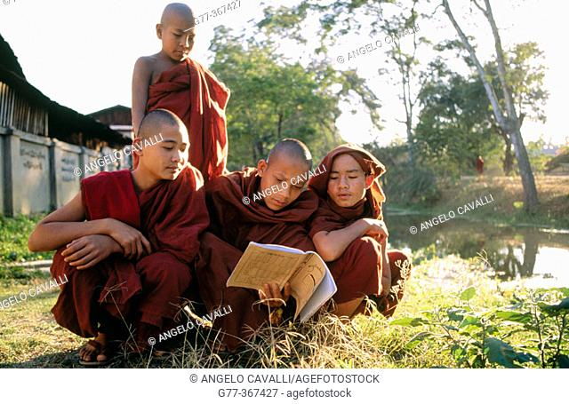 Monks in monastery at Nyaungshwe. Inle Lake. Shan State. Myanmar