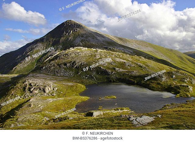 mountain lake in the Grey Corries, Munro Stob Ban in background, United Kingdom, Scotland, Scottish Highlands