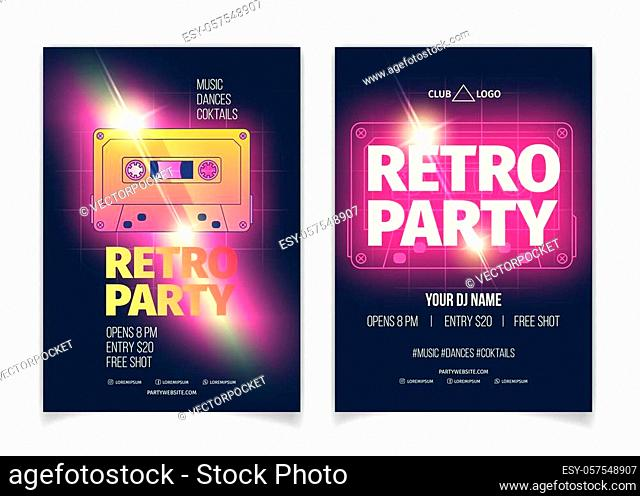 Nightclub retro music party cartoon vector advertising banner, promo flyer or placard page template with glowing neon violet color magnetic tape audio cassette...