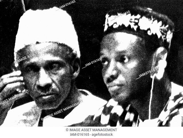 Dr John Karefa-Smart right Sierra Leone's first Foreign Minister, with Sir Milton Augustus Strieby Margai 1895-1964 Sierra Leonean politician and the first...