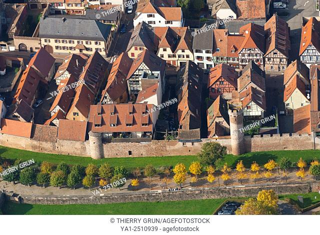 France, Bas Rhin 67, Obernai town, fortification wall and timbered houses aerial view