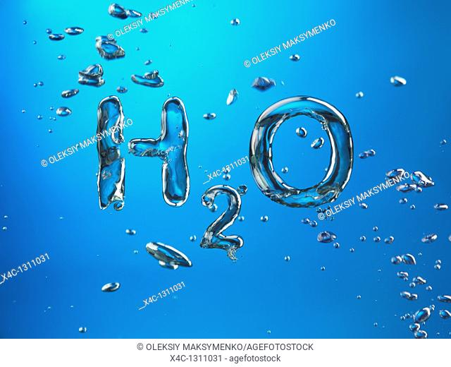 Formula of Water H2O made by oxygen bubbles, conceptual image