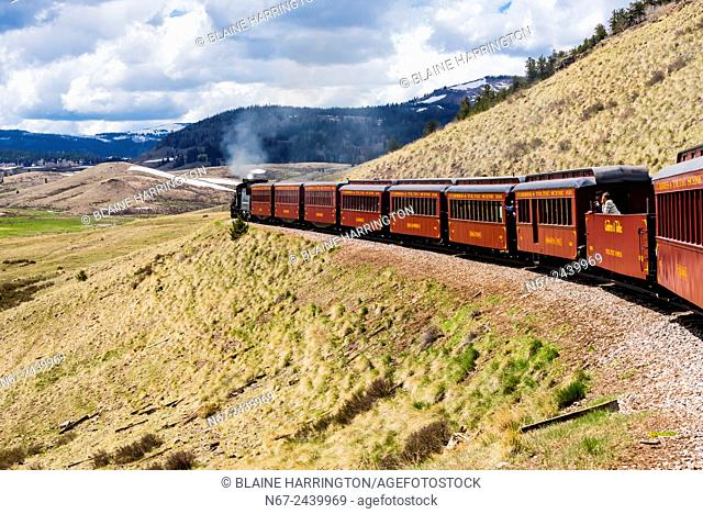 The Cumbres & Toltec Scenic Railroad train pulled on the 64 mile run between Antonito, Colorado and Chama, New Mexico. The railroad is the highest and longest...