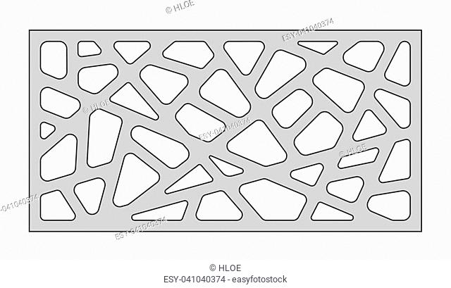 Template for cutting. Abstract line pattern. Laser cut. Ratio 1:2. Vector illustration