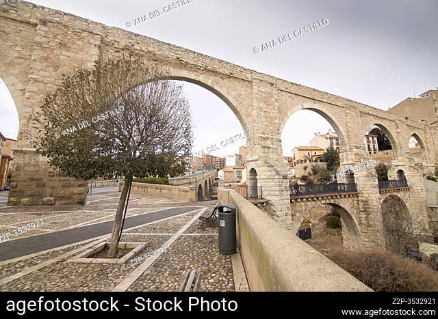 Teruel city on February 11, 2018 in Aragon Spain. The aqueduct