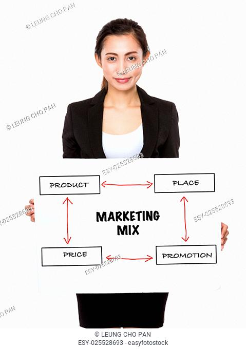 Asian businesswoman holding a placard presenting business mix concept