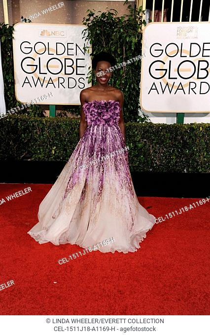 Lupita Nyong'o (wearing a Giambattista Valli Couture gown) at arrivals for The 72nd Annual Golden Globe Awards 2015 - Part 1, The Beverly Hilton Hotel