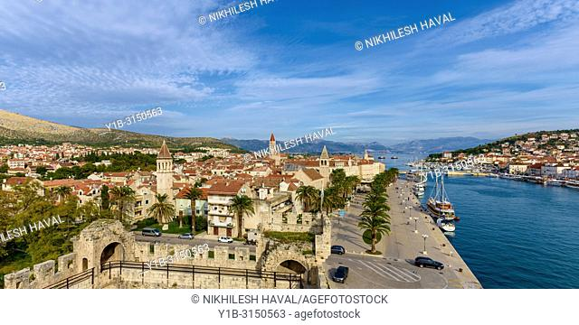 Panoramic view of Trogir from Kamerlengo Castle, Croatia