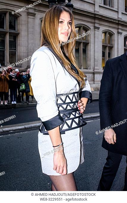 PARIS, FRANCE - January 23 : Iris Mittenaere attends the Jean Paul Gaultier Haute Couture Spring Summer 2019 show as part of Paris Fashion Week on January 23