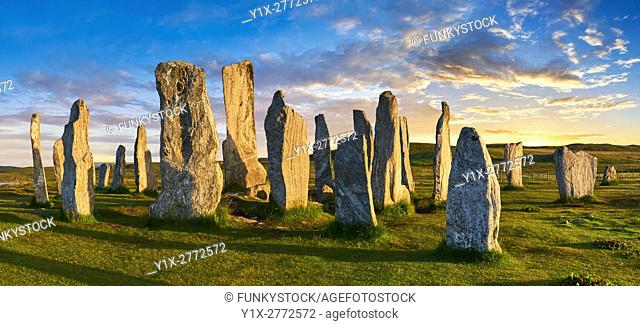 Panorama of Calanais Standing Stones central stone circle erected between 2900-2600BC measuring 11 metres wide. At the centre of the ring stands a huge monolith...