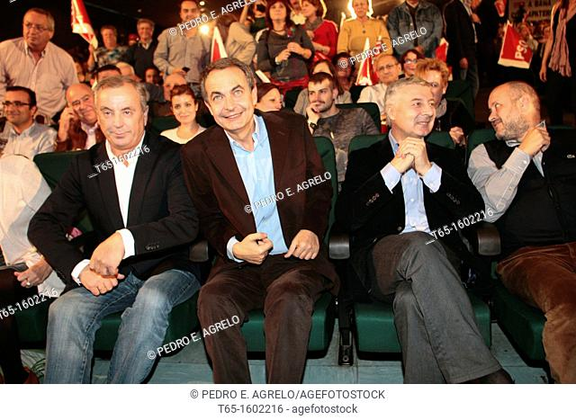 Jose Blanco and Jose Luis Rodriguez Zapatero during a PSOE political meeting