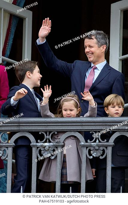 Prince Christian (L), Crown Prince Frederik (back), Prince Vincent and Princess Josephine of Denmark during the 76th birthday celebration of Queen Margrethe at...