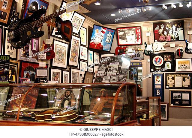 USA, New Orleans, french quarter. autographs shop interior