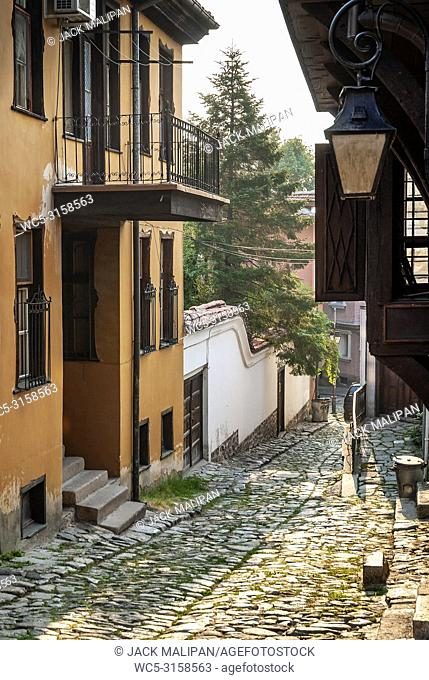 traditional houses and cobbled street in old town of plovdiv bulgaria