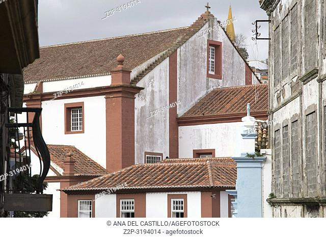 Colorful facades in Angra do Heroismo is World Heritage site in Terceira island Azores islands Portugal. Convent of Sao Francisco