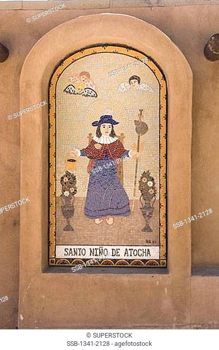 Mural on the wall of a church, El Santuario De Chimayo, Chimayo, Rio Arriba County, New Mexico, USA
