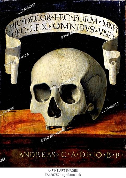 Memento Mori by Previtali, Andrea (ca 1480-1528)/Oil on wood/Renaissance/Early16th cen./Italy, Venetian School/Museo Poldi Pezzoli, Milan/23,8x18/Mythology