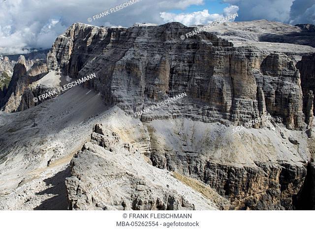 Sella group, Sellapass, Val Lasties, Val di Fassa, the Dolomites, Sella, Piz Selva, Sas de Salei, Fassa Valley, Trentino, Italy, scenery, aerial picture