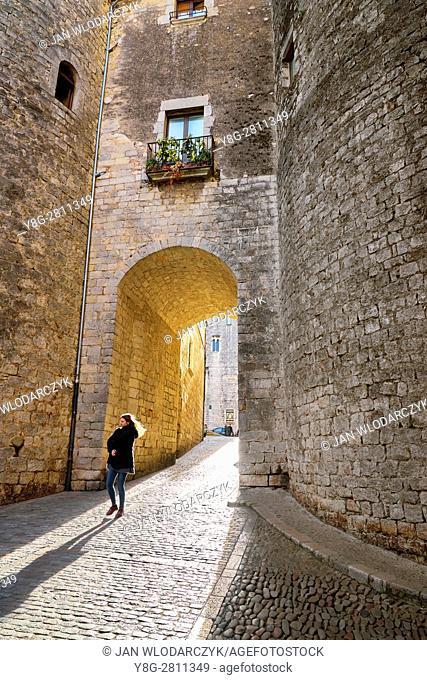 Girona old town street, Catalonia, Spain