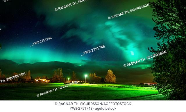 Aurora Borealis over farm in Egilsstadir, Eastern Iceland