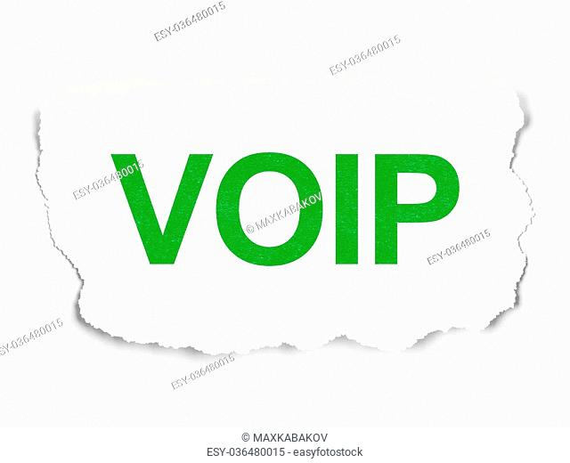 Web design concept: torn paper with words VOIP on Paper background, 3d render