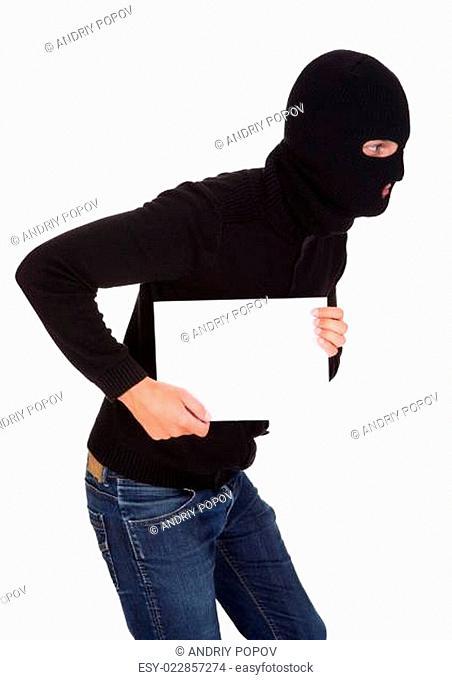 Burglar Holding Blank Placard