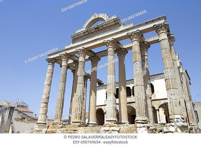 view of the Roman temple of Diana in Merida, Badajoz, Extremadura, Spain