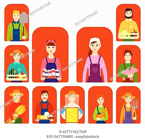 Farmer workers people character agriculture person profession farming life vector illustration. Gardener worker people vector illustration