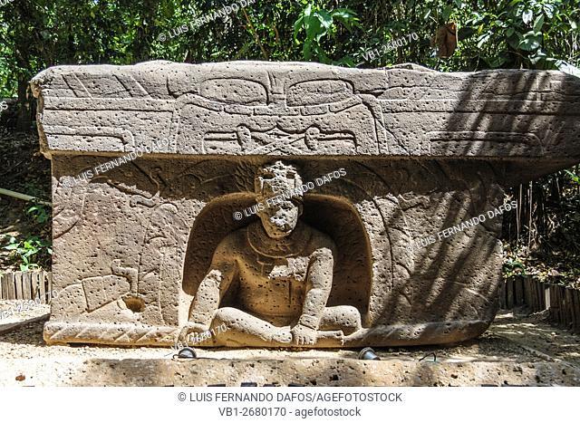 Altar 4 Olmec carving. La Venta, Tabasco, Mexico