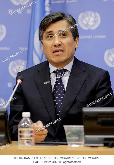 United Nations, New York, USA, July 11 2017 - Amb. Juan Jose Gomez Camacho of Mexico Press Conference on Marine Biodiversity today at the UN Headquarters in New...