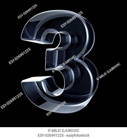 Transparent x-ray number 3 THREE. 3D render illustration on black background