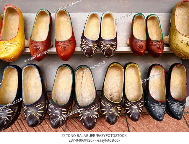 Zuecos madrenas traditional wooden shoes from Asturias of Spain
