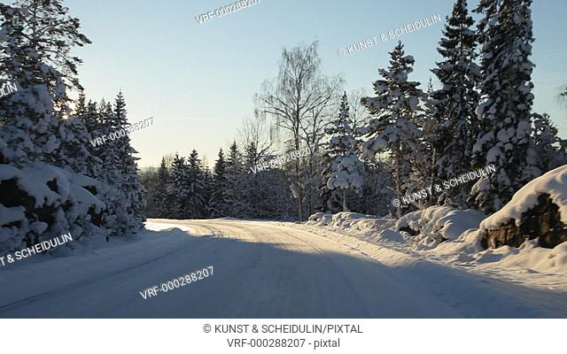 Driving on a country lane through snow covered forests on a sunny winter day. The sun appears between the trees with blinding glare