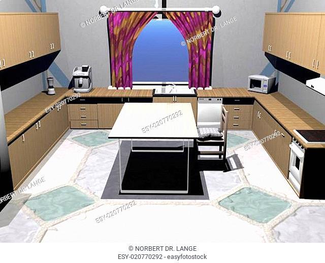 moderne Küche mit Mikrowelle und Kaffeeautomat