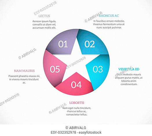 Simple infographic template with a star and copyspaces around it. EPS10 vector background