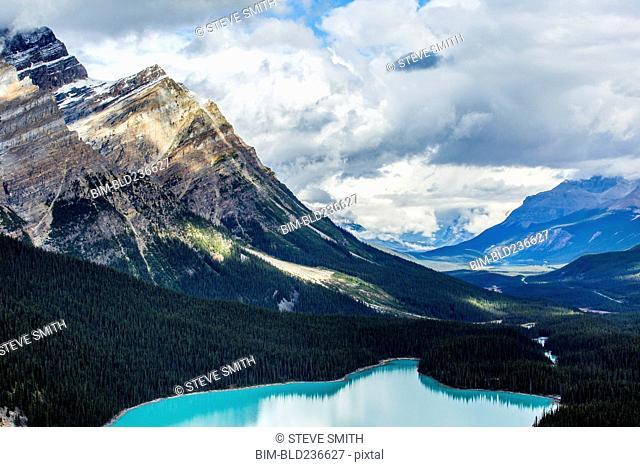 Still lake in mountain valley