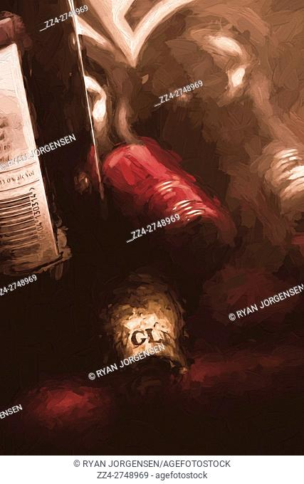 Digital painting on bottles of red wine in a dark winery cellar. Still life bar artwork