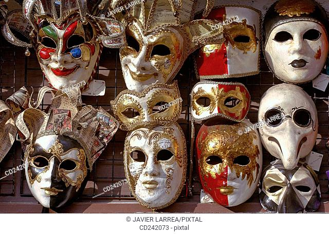 Carnival masks in St. Mark's Square. Venice. Veneto, Italy