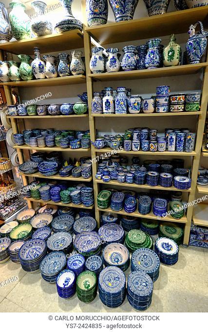 Pottery shop at Plaza Bib Rambla, Granada, Andalusia, Spain