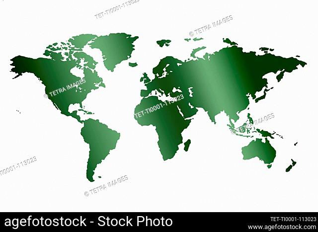 Green world map on white