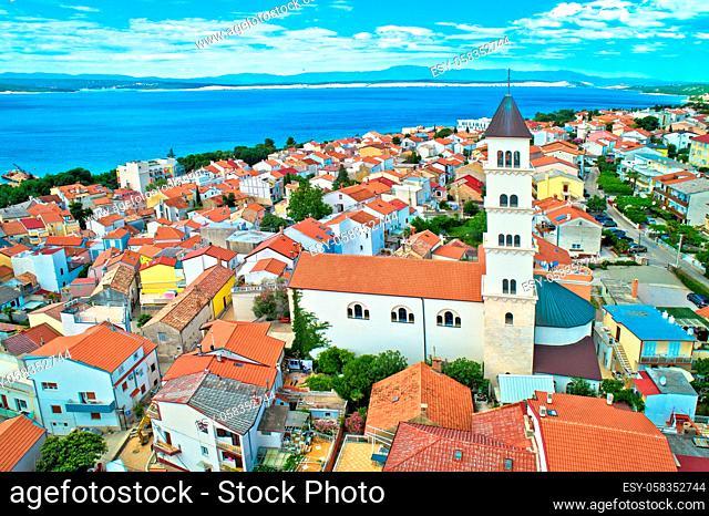 Crikvenica. Town on Adriatic sea waterfront aerial view. Kvarner bay region of Croatia