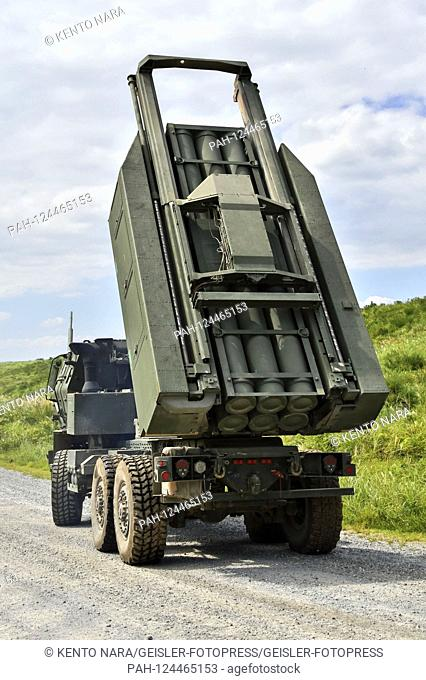 The US Army artillery missile system M142 in the United States and Japan military joint deployment of 'Orient Shield 2019' at Oyanohara Force Base
