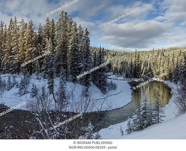 View of open water on lake, Improvement District No. 12, Maligne Lake, Jasper, Jasper National Park, Alberta, Canada