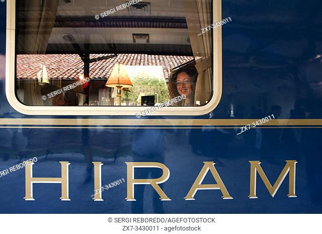 Peru Luxury train from Cuzco to Machu Picchu. Orient Express. Belmond. Train inside. Musicians and dancers in traditional costumes brighten up outside the...