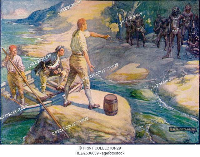 'Natives Gathered Round Them', c1908, (c1920). Artist: Joseph Ratcliffe Skelton
